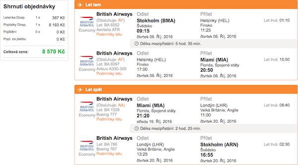 levné letenky Miami