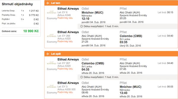 levné letenky Colombo, Srí lanka