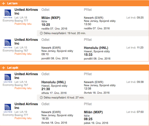 levné letenky Honolulu