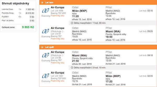 levné letenky Miami Florida