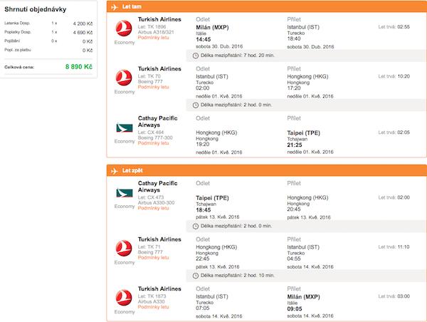 levné letenky Taipei