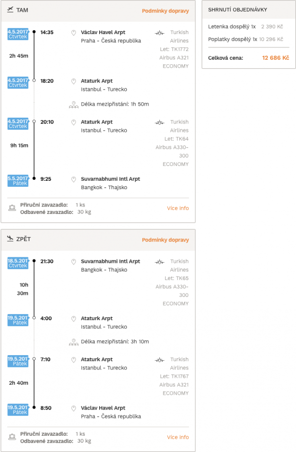 levné letenky Bangkok Thajsko