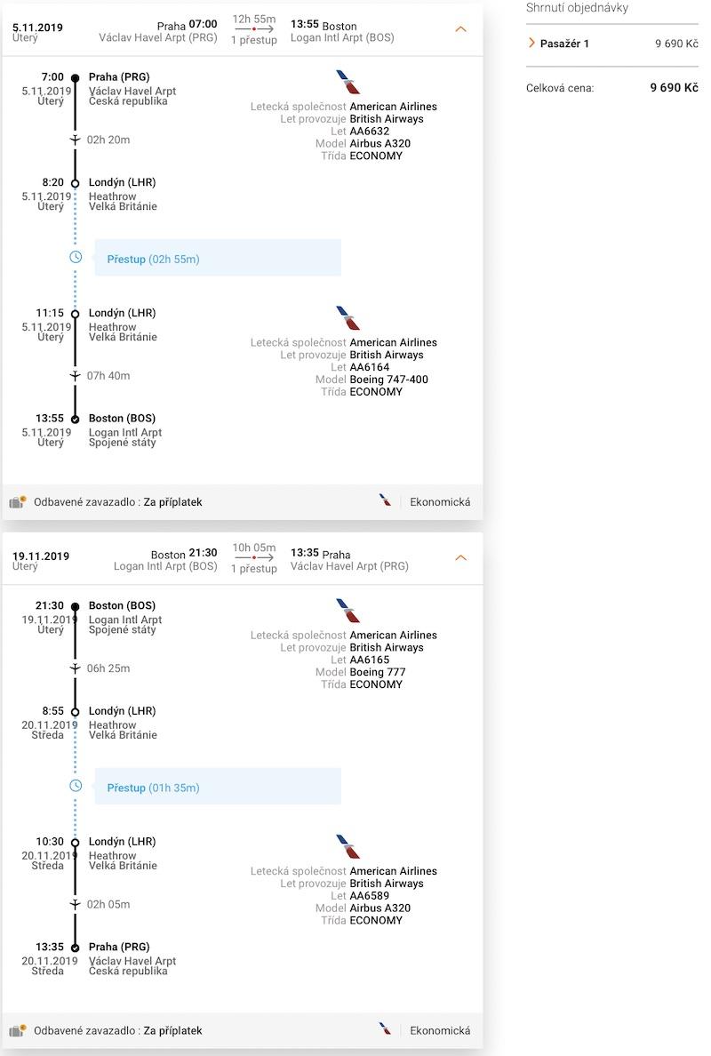 levné letenky Boston USA