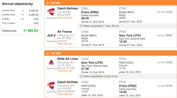 levné letenky do New Yorku