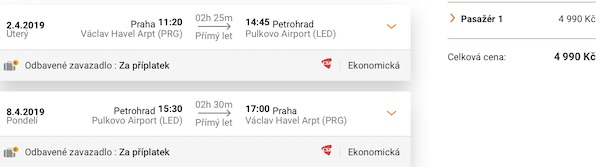 levné letenky Petrohrad Rusko