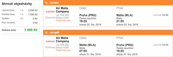levné letenky Malta