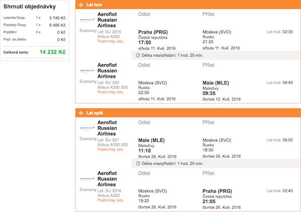 levné letenky Maledivy
