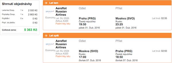 levné letenky Moskva