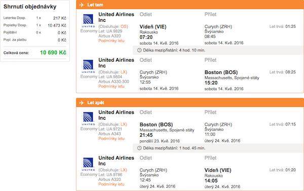 levné letenky Boston