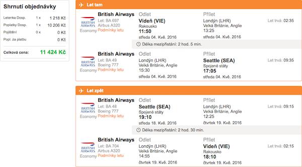 levné letenky Seattle